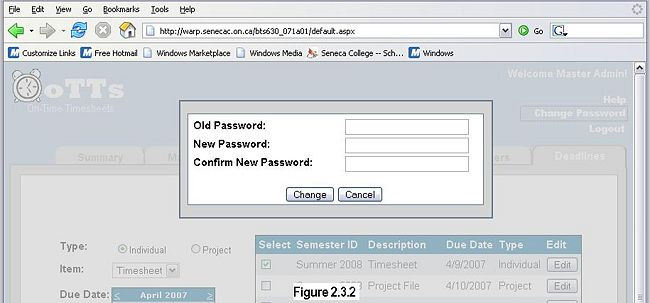 Figure 2.3.2 - Change Password